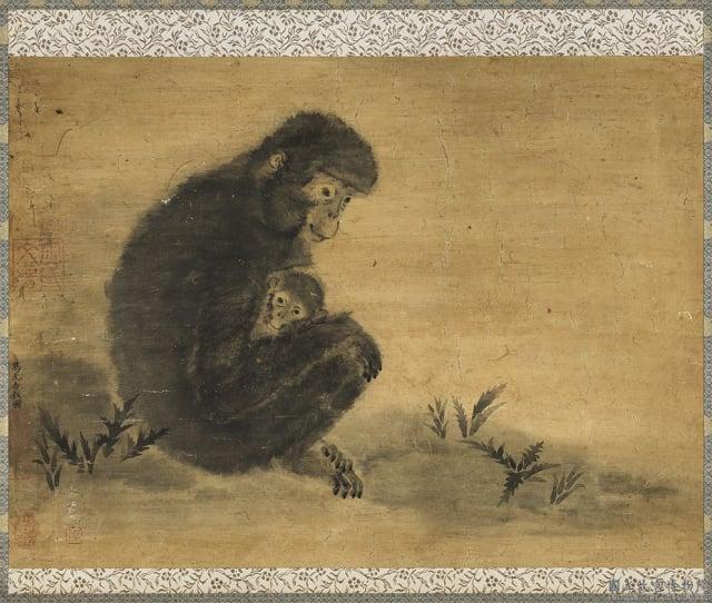 宋易元吉《子母猴》。(國立故宮博物院提供)