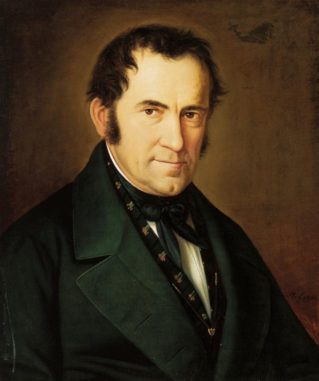 《法蘭茲.格魯伯肖像》(Portrait of Franz Gruber),薩爾斯堡畫家賽巴斯蒂安.史蒂夫(Sebastian Stief)1845年作,油畫。(維基百科)