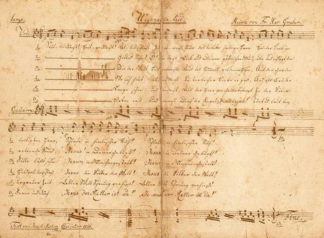 《平安夜》歌譜,莫爾牧師親筆手稿,約1820年。(維基百科)