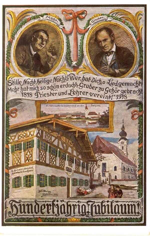 《平安夜》100周年紀念卡片,左為作詞者莫爾牧師;右為作曲者格魯伯樂師。(維基百科)