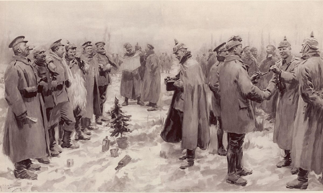 發表於1915年1月9日《倫敦新聞畫報》的示意圖片。英國與德國官兵手把手聯歡,互換頭盔,慶祝聖誕節。地上有一株德國運來的迷你聖誕樹,一名德國軍官正在拍照留念。(維基百科)