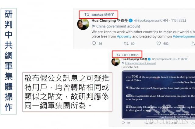 調查局資安站副主任劉家榮指出,散布假公文訊息之可疑推 特用戶,均曾轉貼相同或 類似之貼 文 ,故研判應係 同一網軍集團所為。(調查局資安站提供)