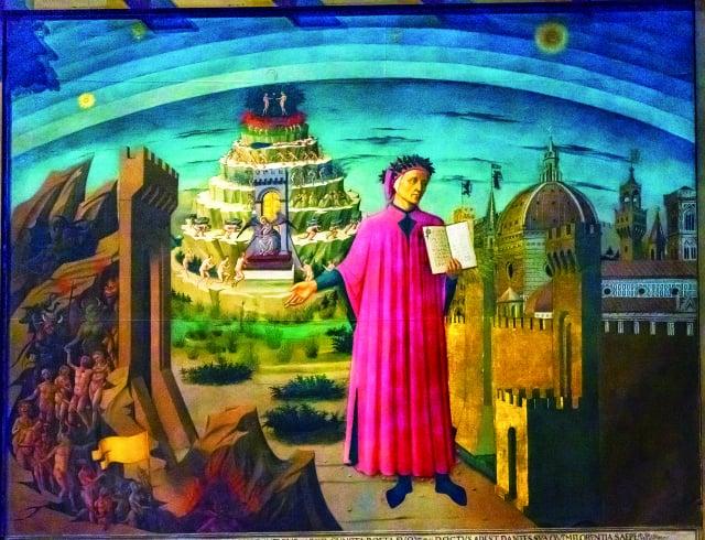 義大利佛羅倫斯聖母百花聖殿(Cathedral of Santa Maria del Fiore)裡的但丁神曲繪畫,創作於1465年。(123RF)
