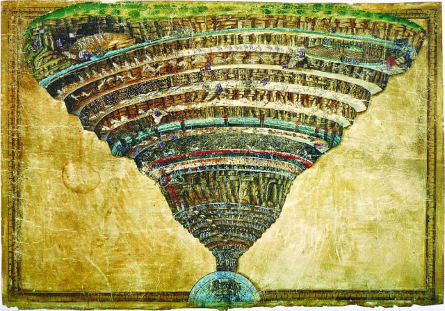 波提切利描繪神曲中的地獄。(公 有領域)