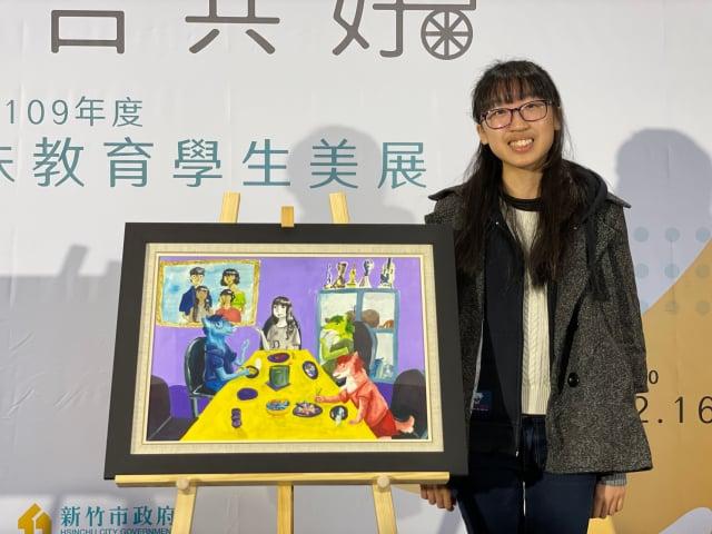 實驗中學鄧詠元過去報名身障類高中乙組都有不錯的成績,今年再度挑戰自己,作品「型像」獲得繪畫類高中宣導組第二名。