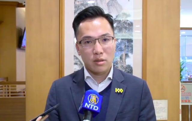 高雄市議員林智鴻16日表示,川普奠定最佳護臺屏障,他支持台灣人站出來「挺川滅共」遊行。(記者李怡欣/攝影)