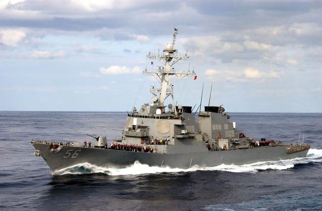 圖為美國海軍馬侃號驅逐艦。(Petty Officer 3rd Class Todd Frantom/U.S. Navy via Getty Images)