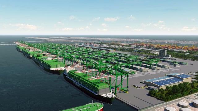 高雄港第七貨櫃中心願景圖。