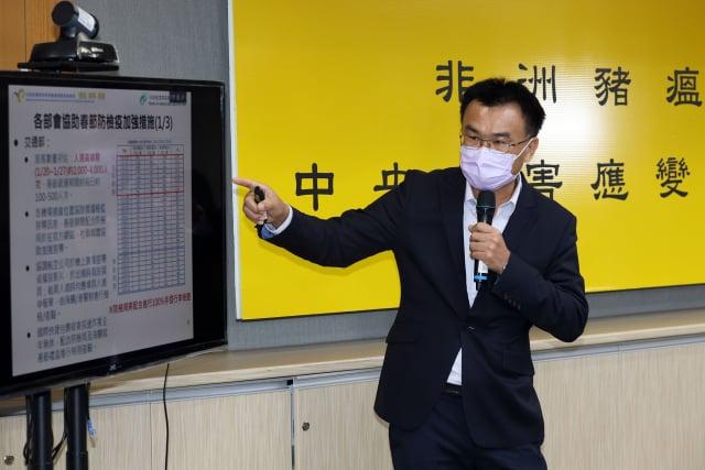 農委會主委陳吉仲呼籲,過年入境莫帶豬製品,以免遭重罰。(中央社)