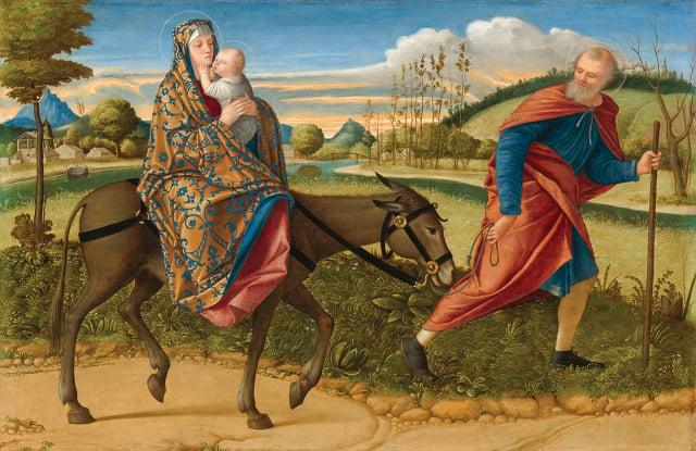 [ 義 ] 卡帕齊奧,《逃往埃及》,板上油畫,約作於 1515 年,華盛頓國家畫廊藏。(維基百科 )