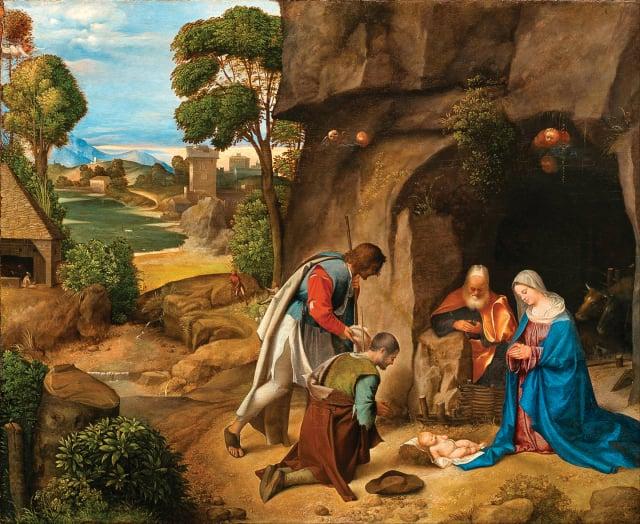 [ 義 ] 喬久內,《牧人來拜》,板上油畫,作於 1505~1510 年,華盛頓國家畫廊藏。(維基百科)