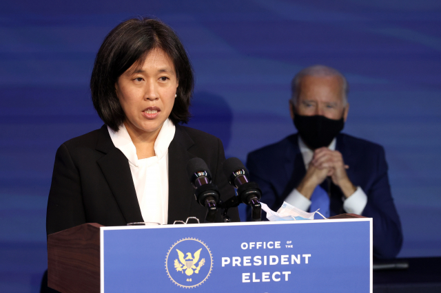 美國總統拜登(Joe Biden)提名的下一任美國貿易代表凱薩琳戴(Katherine Tai)。(Chip Somodevilla/Getty Images)