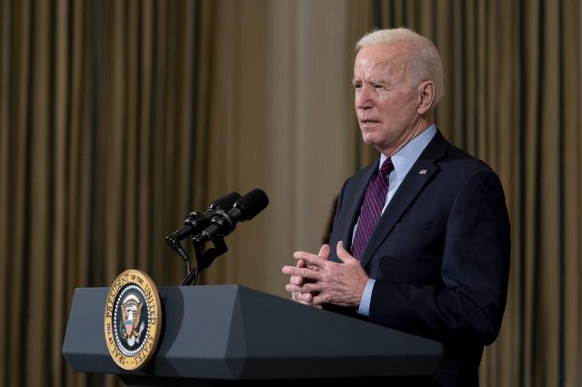 021年2月05日,美國總統拜登在白宮演講。(Stefani Reynolds-Pool/Getty Images)