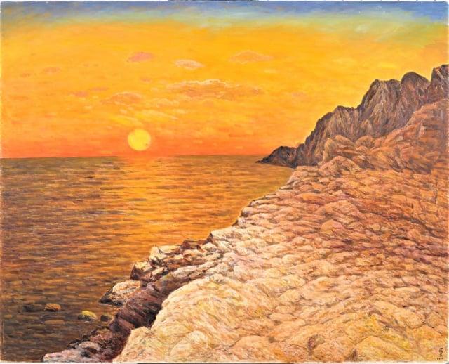 劉國東的3件百號油畫作品〈日出〉。