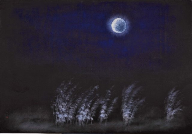 廖鴻興水墨畫作〈醉良宵〉。