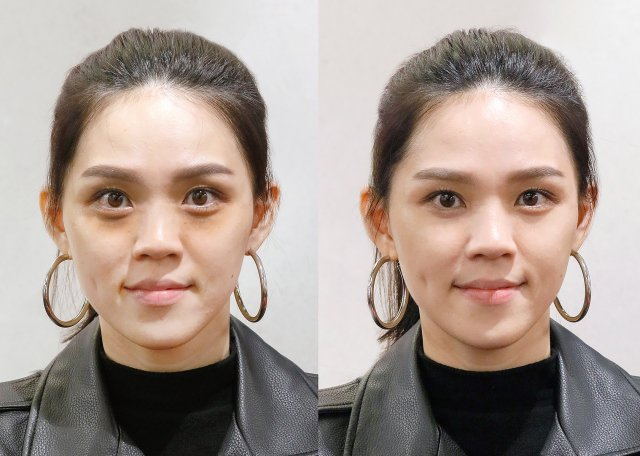 先使用機能款穩定全臉膚況,之後平衡調色提升氣色與明亮感。左為妝前,右為妝後。(MAKE UP FOR EVER提供)