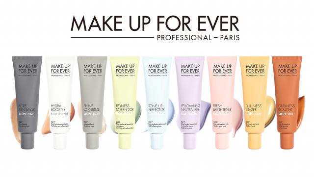 使用妝前乳時,可針對年齡、膚況、季節、活動場合等來挑選顏色。(MAKE UP FOR EVER提供)