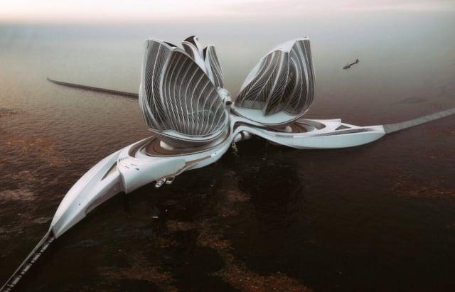 彼得拉科娃設計的海上漂浮站「第八大陸」。(彼得拉科娃提供)