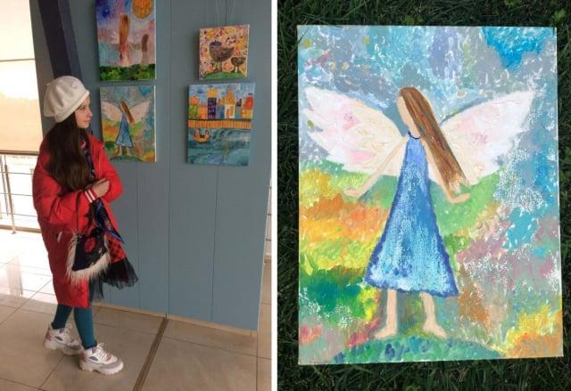 安娜和她的畫作。(由娜塔麗婭.馬蒂紐基提供)