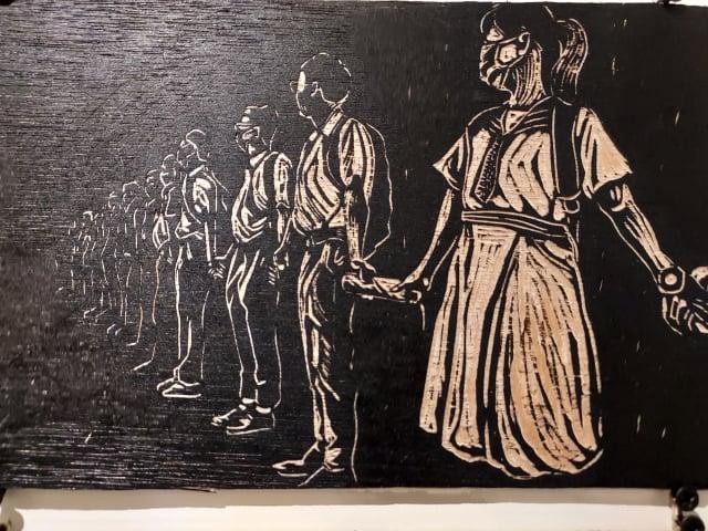 李迪權記錄香港反送中運動的木刻版畫。