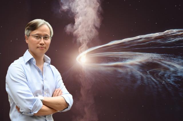 清大天文所特聘教授江國興與國際團隊合作發現,恆星被黑洞撕裂時噴發的微中子。(清華大學提供)