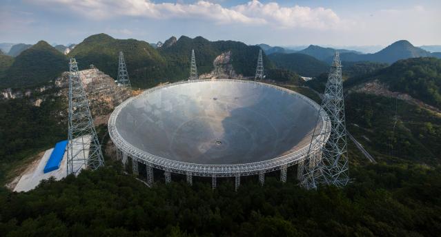 位於中國貴州的「中國天眼」。(STR/AFP via Getty Images)