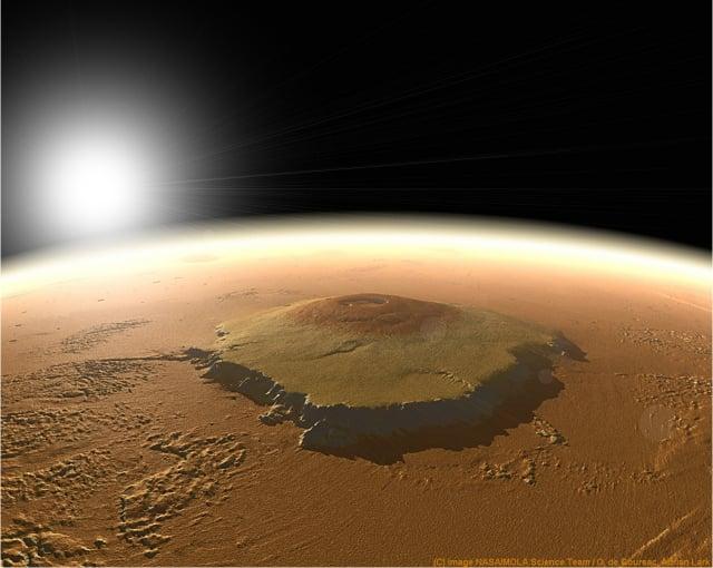 火星上的奧林帕斯盾狀火山。(NASA)