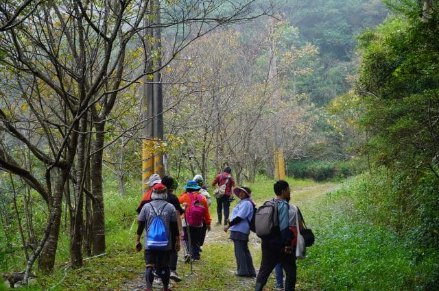 學員沿著小鬼湖林道進行鳥類辨識。