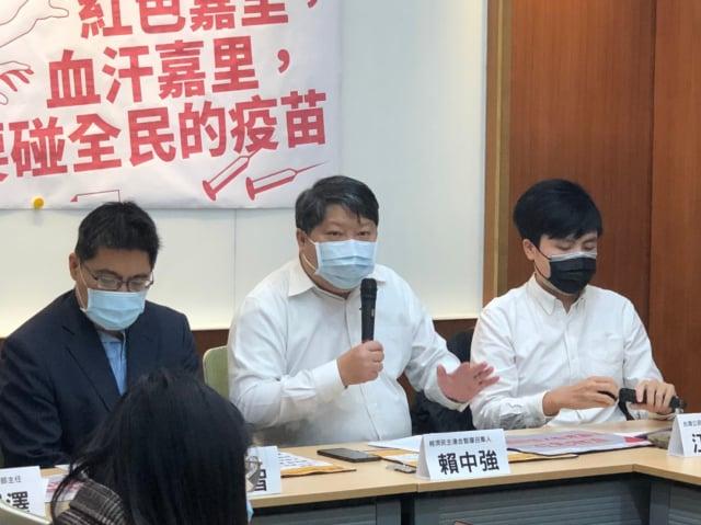 經濟民主連合14日召開記者會,指控物流公司「嘉里大榮」的香港母公司與中共關係密切,應排除在武漢肺炎(中共病毒)疫苗配送招標案之外。(經濟民主連合提供)