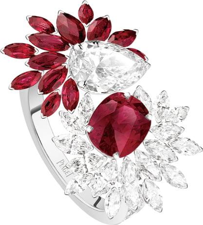 全新系列PIAGET Wings of Light高級珠寶系列紅寶石鑽石戒指,尊貴大氣。(微風集團提供)