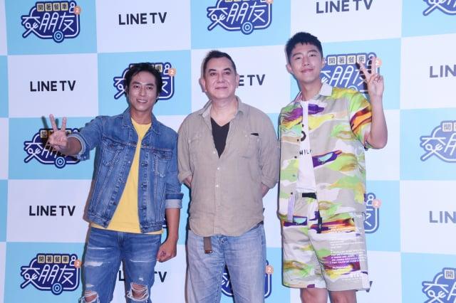 黃秋生(中)與莊凱勛(左)、蔡凡熙(右)主持實境節目《開著餐車交朋友》第2季。(記者黃宗茂/攝影)