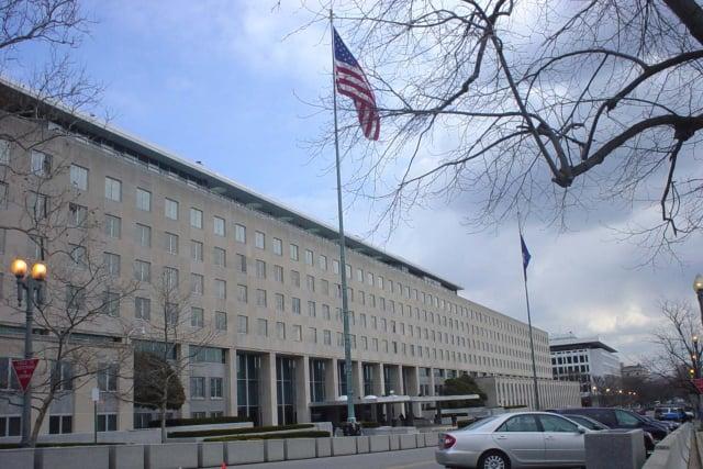 美國國務院、歐美政要及專家組織對香港《大紀元時報》記者梁珍(Sarah Liang)遭到凶徒襲擊的事件予以強烈譴責。圖為美國國務院。(記者林威/攝影)