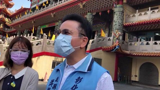 彰化副縣長洪榮章在普天宮接受聯訪。(彰化縣政府提供)