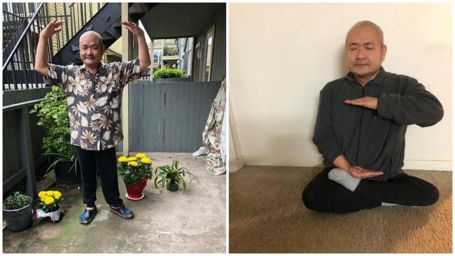 闖過生死後的Dong Nguyen在學煉法輪功的第二套功法(左)和第五套功法(右)。(Dong Nguyen提供)