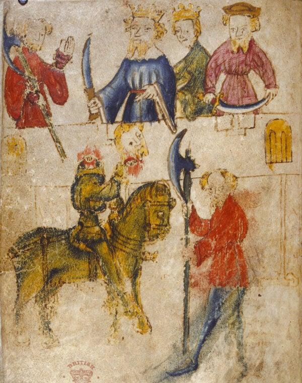 《高文爵士與綠衣騎士》手稿成於大約14世紀,1485年出版。(公共區域)
