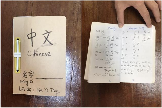替代役華語文教師劉奕廷指導學生製作中文小書。(劉奕廷提供)