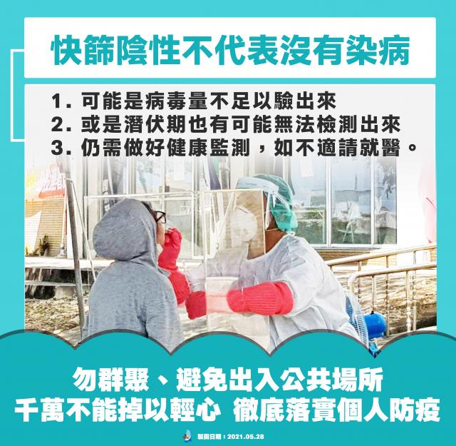 臺東縣衛生局提醒民眾,快篩陰性也切勿掉以輕心。