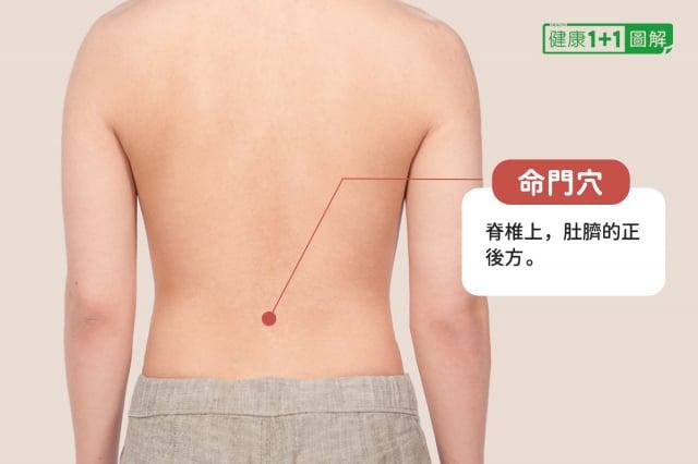 命門穴在肚臍正後方,兩腎中間。(健康1+1/大紀元提供)