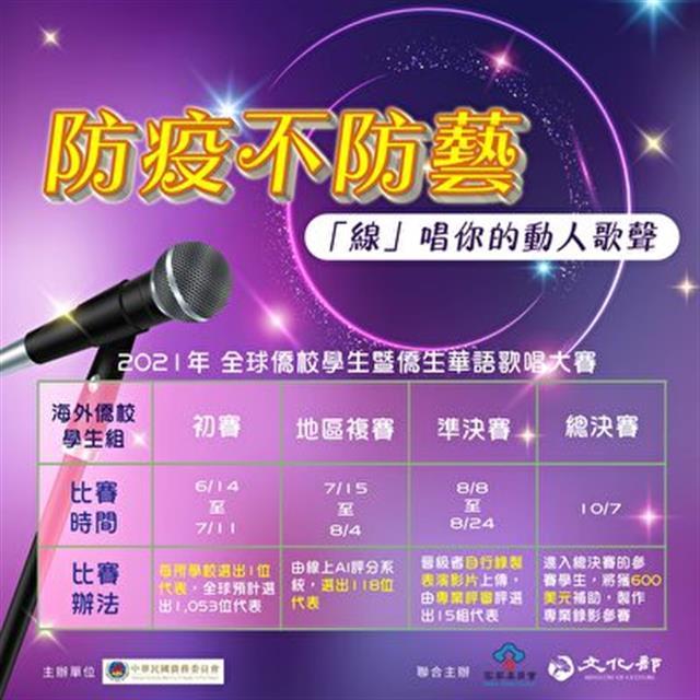 僑委會比賽的指定曲包含華語、閩南語及客語等臺灣知名歌手代表性的流行歌曲,體驗臺灣多元族群語言及流行音樂文化。(僑委會提供)