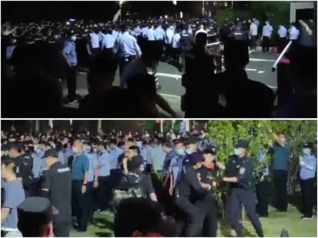 江蘇省南京師範大學中北學院因為轉設引發學生不滿,在校園抗議,遭警方鎮壓。(網路影片擷圖)