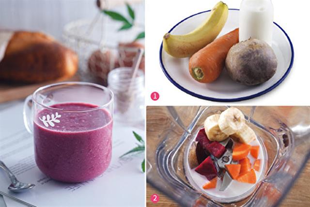 如果吃蘋果和高麗菜會脹氣的人,可以喝由香蕉、甜菜根和紅蘿蔔製成的BBC果汁。 (采實文化提供)