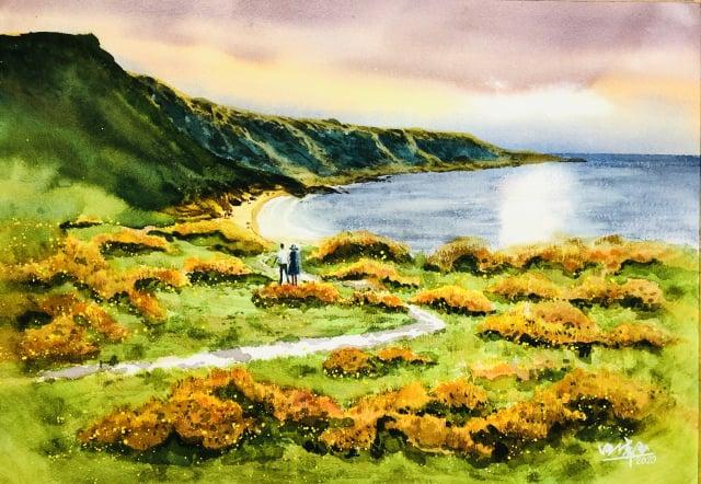 風景水彩畫:美麗的澎湖灣。(汪倩玉提供)