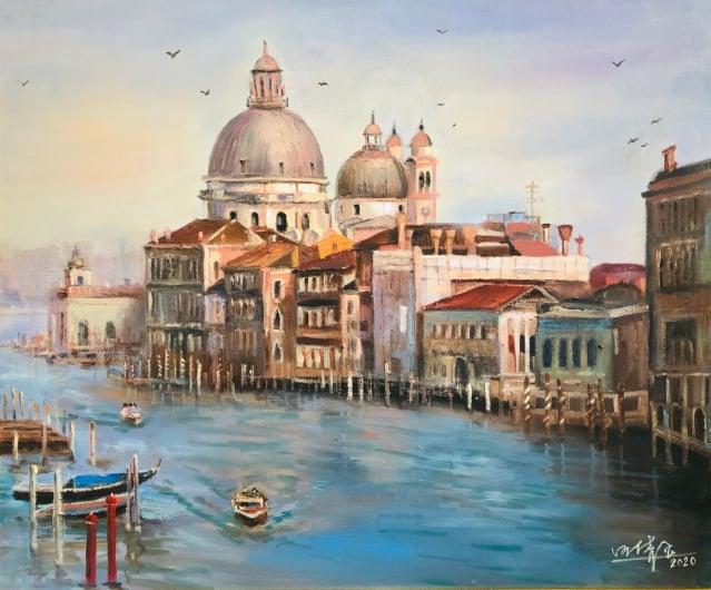 風景畫:美麗的威尼斯。(汪倩玉提供)