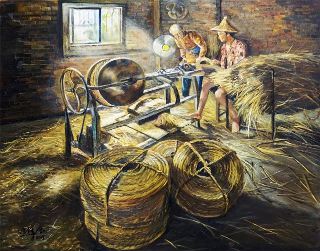 串聯歲月的輪轉,傳統草繩技藝。(汪倩玉提供)
