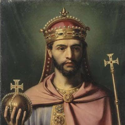 法蘭克王國國王路易一世頭戴王冠畫像。(維基百科)