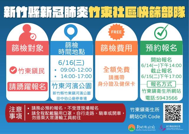 新竹縣竹東鎮開放鎮民免費普篩流程說明。(新竹縣政府提供)