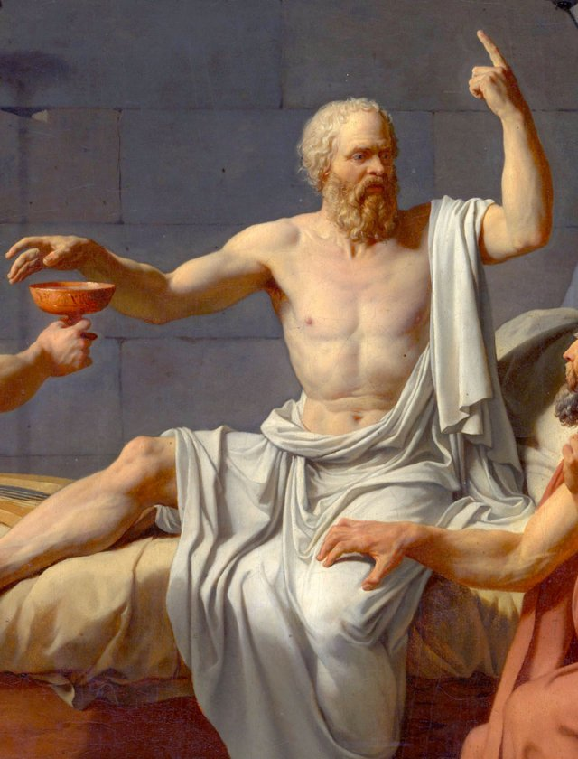 《蘇格拉底之死》局部,雅克‧路易‧大衛繪於1787年。(公有領域)