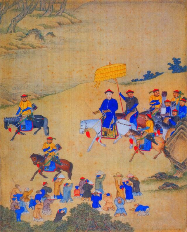 康熙帝出巡圖,清宮廷畫師繪,北京故宮博物院藏 。(公有領域)
