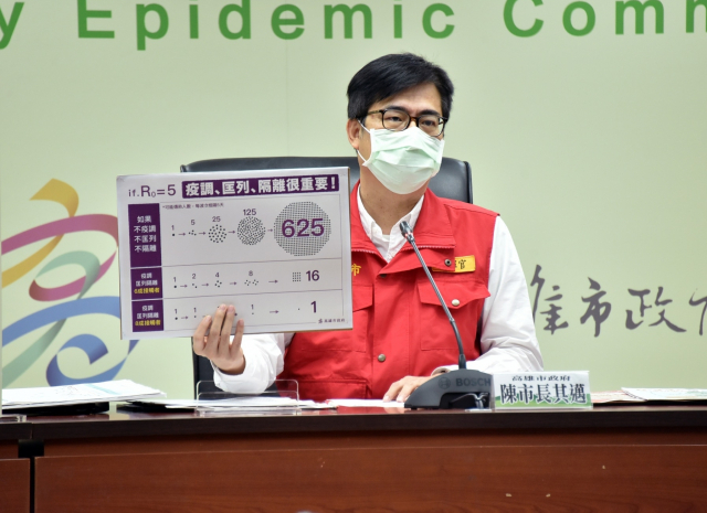 高雄市長陳其邁表示,用心疫調、匡列和隔離,才能將疫情控制在一定範圍。(高市府提供)