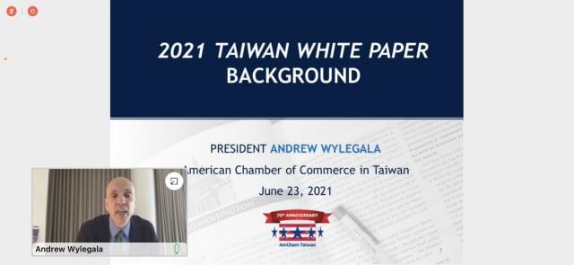 臺灣美國商會新任執行長魏立安(Andrew Wylegala)。(臺灣美國商會線上記者會擷圖)